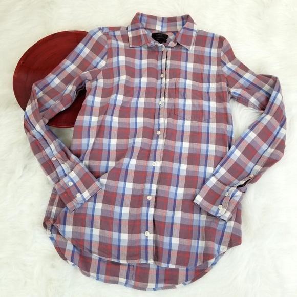 8bb2e4fb J. Crew Tops | J Crew Womens Flannel Shirt Size 2 Plaid Boy Fit ...